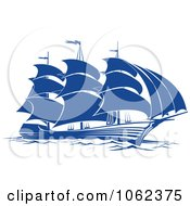 Clipart Blue Sailing Ship 6 Royalty Free Vector Illustration