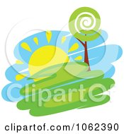 Clipart Spring Landscape Logo 3 Royalty Free Vector Illustration