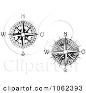 Clipart Compass Roses In Black And White Collage 1 Royalty Free Vector Illustration