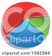 Clipart 3d Pie Chart In Thirds Royalty Free Vector Illustration