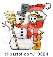 Clipart Picture Of A Paint Brush Mascot Cartoon Character With A Snowman On Christmas