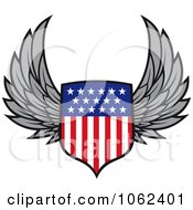 Clipart Winged American Shield Royalty Free Vector Illustration