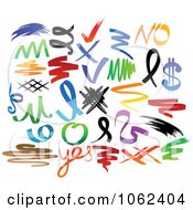 Clipart Scribbles Digital Collage Royalty Free Vector Illustration