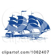 Clipart Blue Sailing Ship 5 Royalty Free Vector Illustration