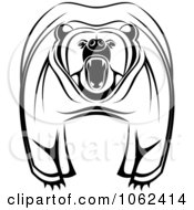 Clipart Mad Bear In Black And White Royalty Free Vector Illustration