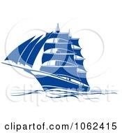 Clipart Blue Sailing Ship 1 Royalty Free Vector Illustration
