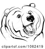Growling Bear In Black And White
