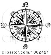 Clipart Compass Rose In Black And White 2 Royalty Free Vector Illustration