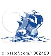 Clipart Blue Sailing Ship 3 Royalty Free Vector Illustration