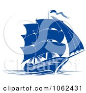 Clipart Blue Sailing Ship 4 Royalty Free Vector Illustration