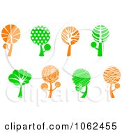 Clipart Green And Orange Tree Logos Digital Collage Royalty Free Vector Illustration by Vector Tradition SM