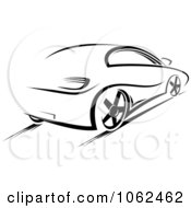 Clipart Driving Car In Black And White Royalty Free Vector Illustration