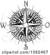Clipart Compass Rose In Black And White 4 Royalty Free Vector Illustration