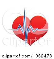 Clipart Blue Beat Over A Heart Royalty Free Vector Illustration