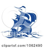 Clipart Blue Sailing Ship 2 Royalty Free Vector Illustration