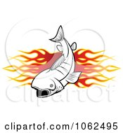 Clipart Fish And Flames Banner 2 Royalty Free Vector Illustration