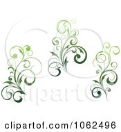Clipart Green Flourish Digital Collage 3 Royalty Free Vector Clip Art Illustration