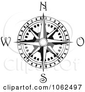 Clipart Compass Rose In Black And White 3 Royalty Free Vector Illustration