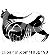 Clipart Bull In Black And White Royalty Free Vector Illustration by Vector Tradition SM