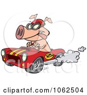 Clipart Cartoon Pig Racing A Hot Rod Royalty Free Vector Illustration by toonaday #COLLC1062504-0008