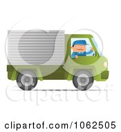 Clipart Mover Driving A Green Truck Royalty Free Vector Moving Illustration