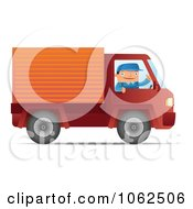 Clipart Mover Driving A Red Truck Royalty Free Vector Moving Illustration