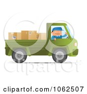 Clipart Mover Driving A Green Pickup Truck Royalty Free Vector Moving Illustration