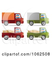 Clipart Movers Driving Trucks Digital Collage Royalty Free Vector Moving Illustration