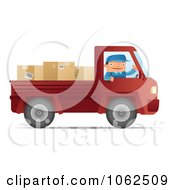 Clipart Mover Driving A Red Pickup Truck Royalty Free Vector Moving Illustration
