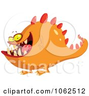 Clipart Spiked Orange Monster Royalty Free Vector Illustration by yayayoyo