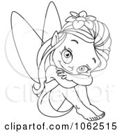 Clipart Sitting Fairy Outline Royalty Free Vector Illustration