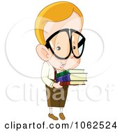 Clipart Nerdy School Boy With Books Royalty Free Vector Illustration by yayayoyo