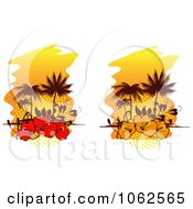 Clipart Palm Tree Island And Hibiscus Backgrounds Collage Royalty Free Vector Clip Art Illustration
