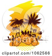 Clipart Palm Tree Island And Hibiscus Background 2 Royalty Free Vector Clip Art Illustration