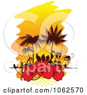 Clipart Palm Tree Island And Hibiscus Background 1 Royalty Free Vector Clip Art Illustration