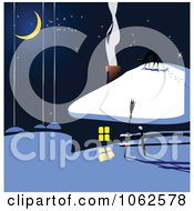 Clipart Winter House At Night Royalty Free Vector Illustration