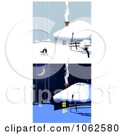 Clipart Winter House Digital Collage Royalty Free Vector Illustration