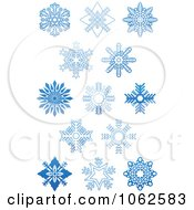Clipart Blue Snowflakes Digital Collage 1 Royalty Free Vector Illustration