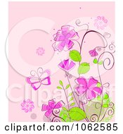 Clipart Pink Floral Background 14 Royalty Free Vector Illustration