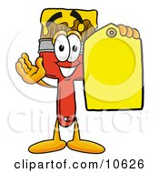 Paint Brush Mascot Cartoon Character Holding A Yellow Sales Price Tag