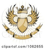 Clipart Crowned Winged Shield And Banner 1 Royalty Free Vector Illustration by Vector Tradition SM