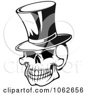 Clipart Skull With Top Hat Black And White Royalty Free Vector Illustration