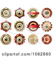 Clipart Red And Gold Labels Digital Collage Royalty Free Vector Clip Art Illustration