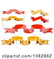 Clipart Red And Orange Banners Digital Collage Royalty Free Vector Illustration