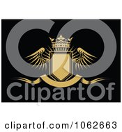 Clipart Crowned Winged Shield And Banner 4 Royalty Free Vector Illustration
