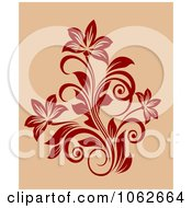 Clipart Red Floral Design On Tan 2 Royalty Free Vector Clip Art Illustration