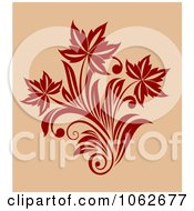 Clipart Red Floral Design On Tan 1 Royalty Free Vector Clip Art Illustration