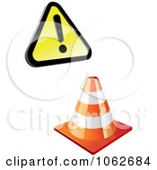 Clipart Construction Cone And Warning Sign Digital Collage Royalty Free Vector Illustration