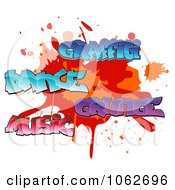 Clipart Comic Splatter With Graffiti Dance Music Grunge Words Royalty Free Vector Illustration by Vector Tradition SM