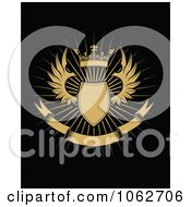 Clipart Crowned Winged Shield And Banner 2 Royalty Free Vector Illustration